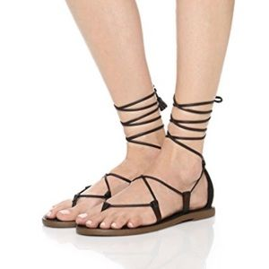 Madewell Boardwalk Lace Up Sandals in True Black